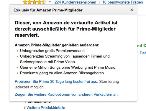 Exklusivität bei Amazon durch das Prime-Angebot