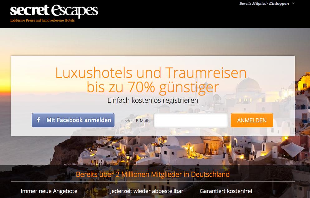 Startseite von Secret Escapes